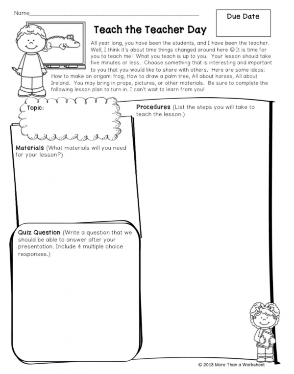 teach the teacher printable