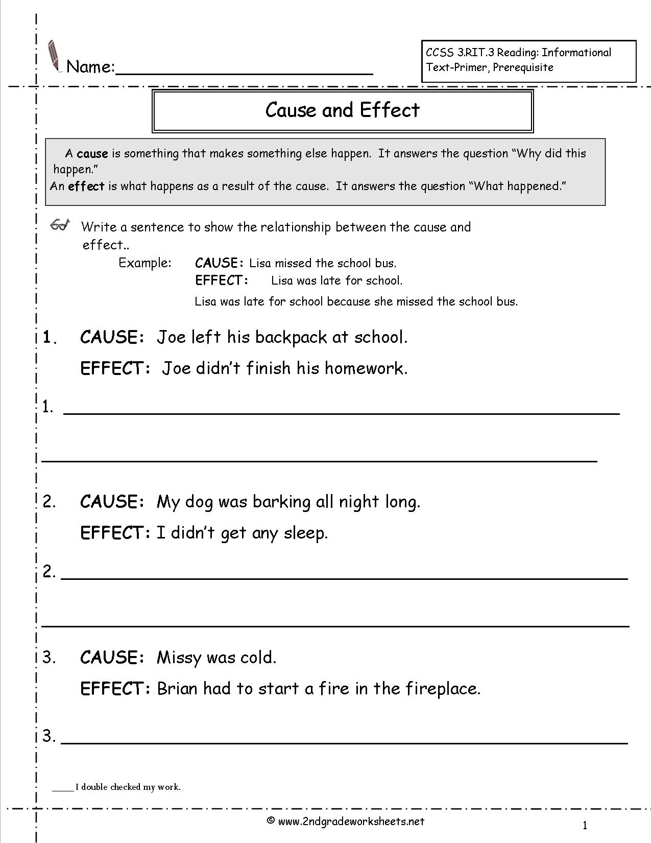 Cause And Effect Lesson Plan 3rd Grade