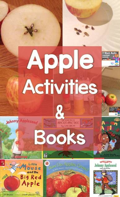 Apple learning activities, art project, and books