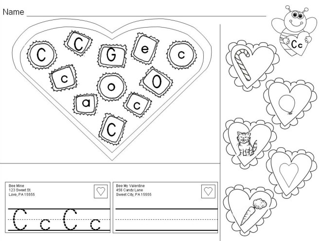 Valentine's Day Alphabet practice pages