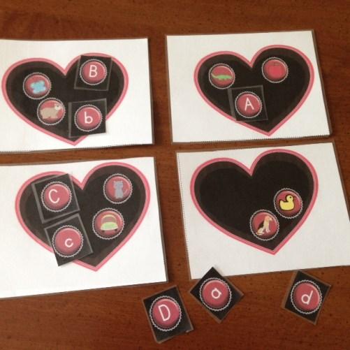 Valentine's Day beginning sounds center activity