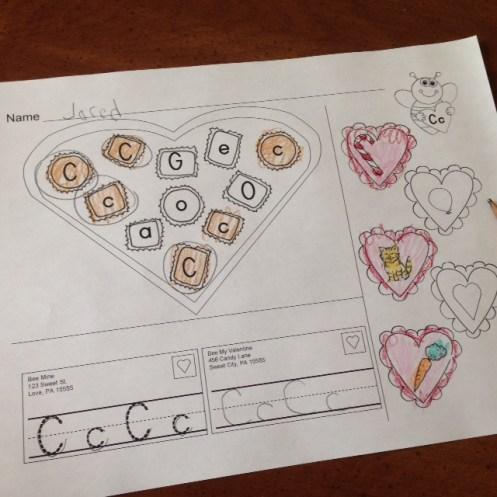 Valentine alphabet page