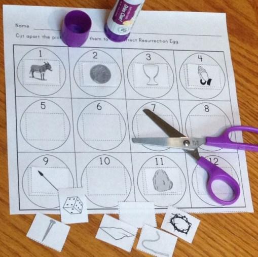 Resurrection Eggs cut and paste activity