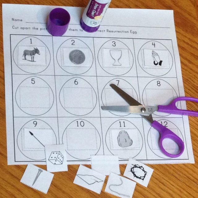Resurrection Eggs cut and paste activity