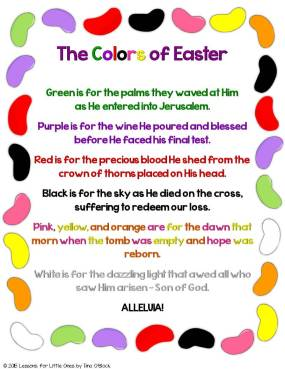 The Colors of Easter jelly bean poem