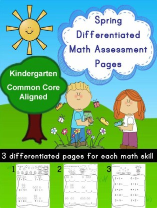Kindergarten Spring Math Differentiated Pages