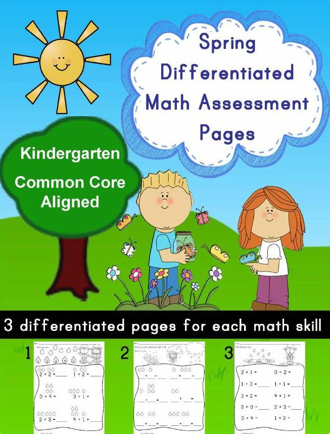 Spring Kindergarten Math Differentiated No Prep Activity Pages ...