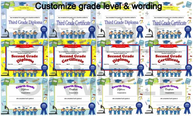 editable diploma for grade 1 - 6
