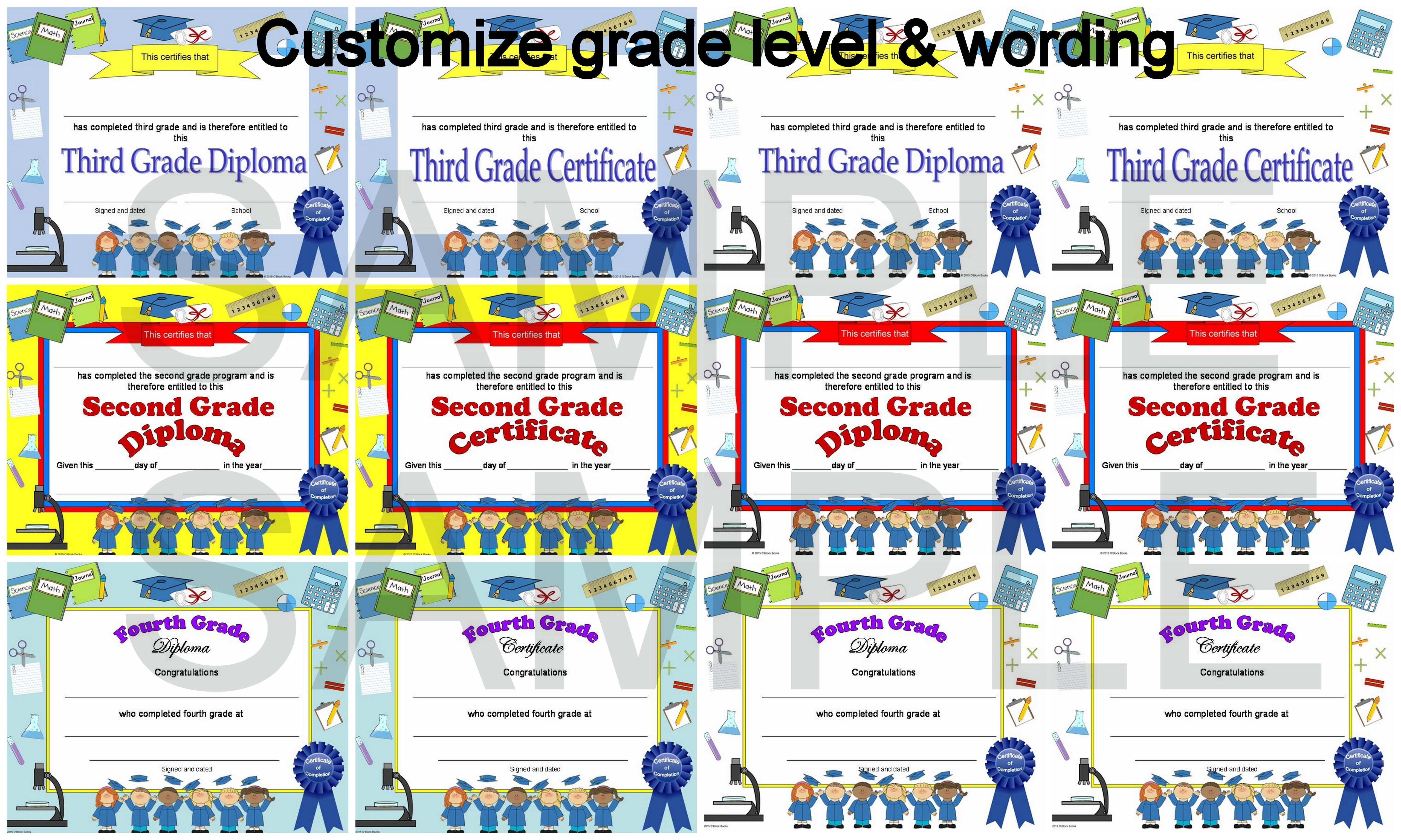 Editable Diplomas for Grades 16 Elementary School Diplomas – End of the Year Party Invitation Wording