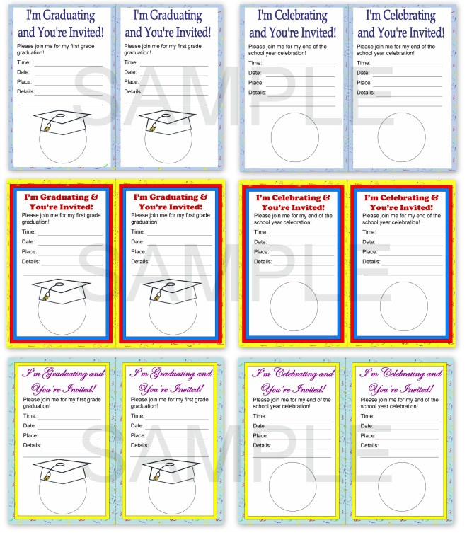 first grade end of the school year celebration invitations
