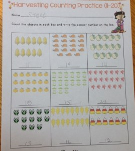 fall counting and numbers practice page