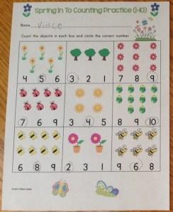 spring counting numbers worksheet