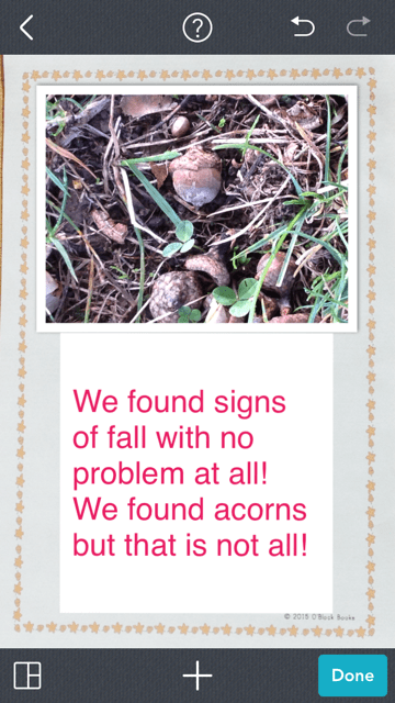 using Pic Collage to create a signs of fall class book