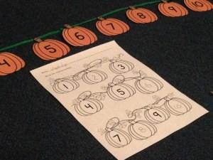 pumpkin counting by ones center activity kindergarten