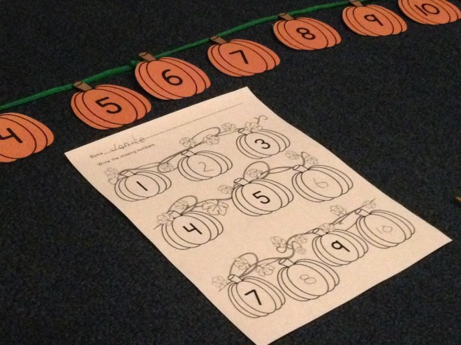 pumpkin counting by ones