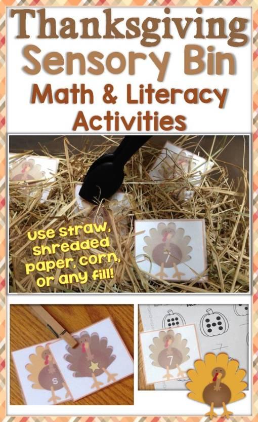 Thanksgiving Sensory Bin Math & Literacy Activities