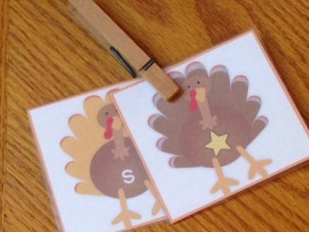 turkey sensory bin phonics activity