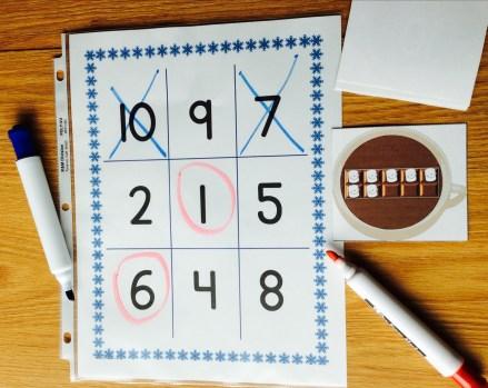 math number sense tic tac toe game