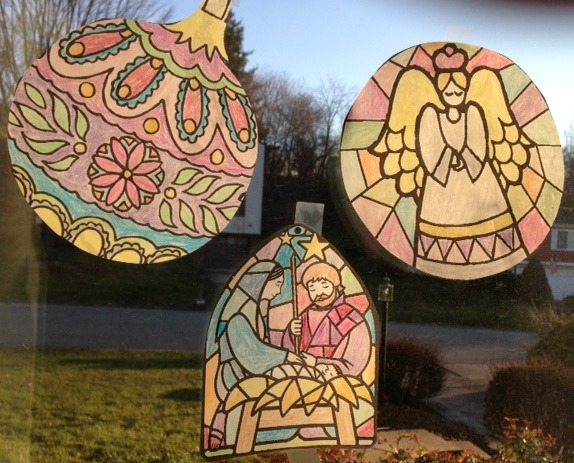 student-made stained glass window coloring page