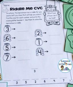 St. Patrick's Day CVC riddles