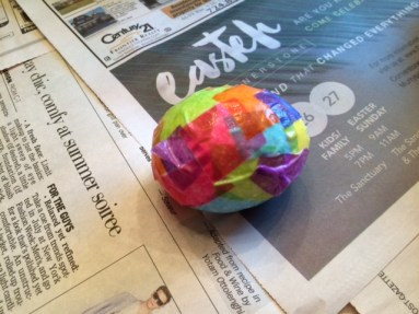 tissue paper Easter egg wet
