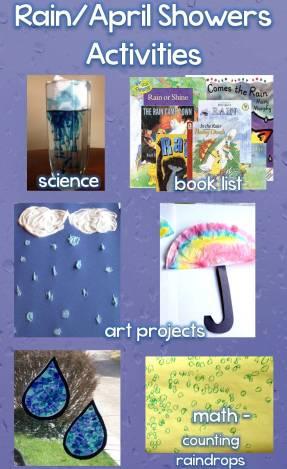 Rain / April Showers Science, Art, Math Activities & Book List