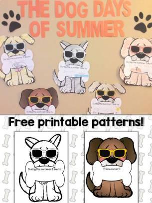 Dog Days of Summer Classroom Display & Free printable dog patterns