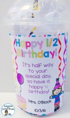 half birthday student gift tag editable