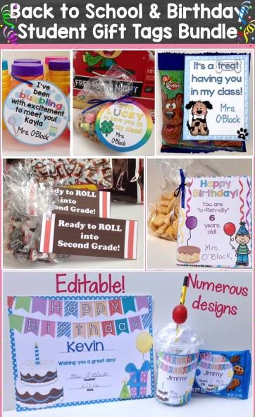 student gift tag money saving bundle pack