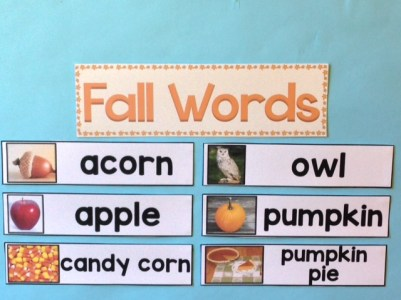 fall, autumn word wall cards