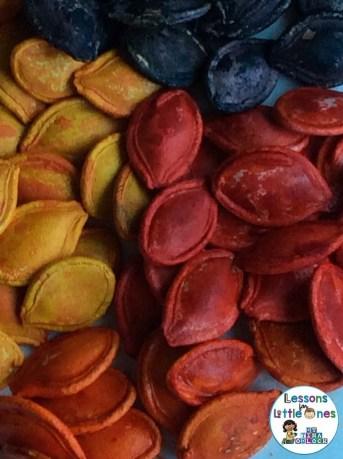 dyed pumpkin seeds