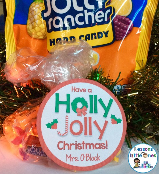 Christmas student gift tag for Jolly Rancher Candies Have a holly jolly Christmas