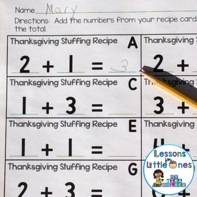 Thanksgiving math addition
