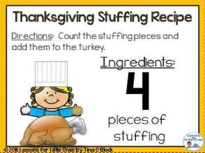 Thanksgiving stuffing math center counting card