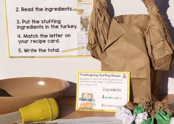 Thanksgiving turkey differentiated math center