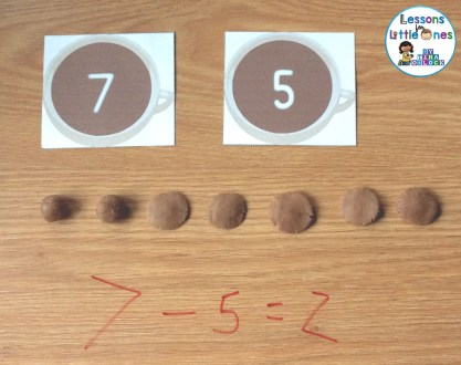 hot chocolate play dough subtraction smash