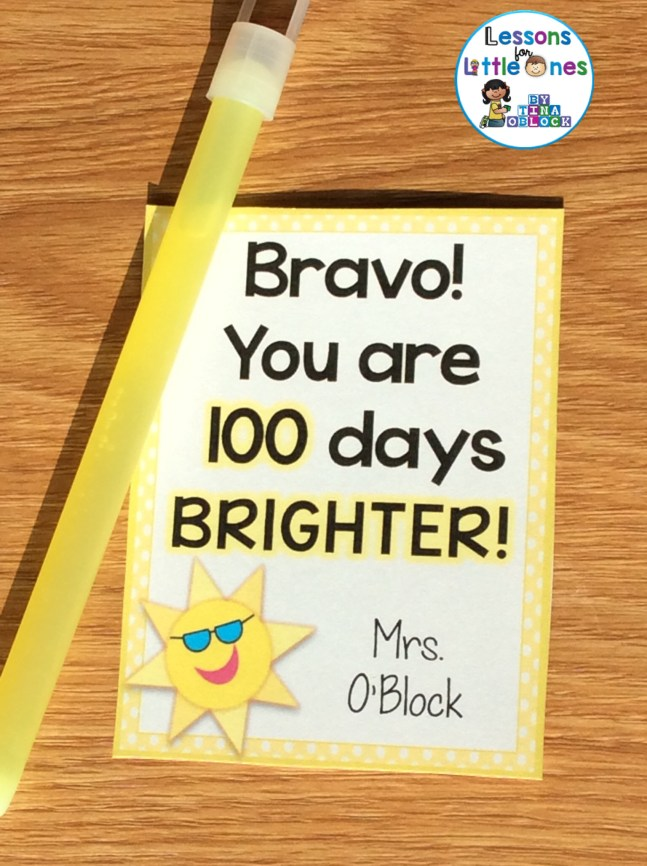 100 days brighter treat / gift tag
