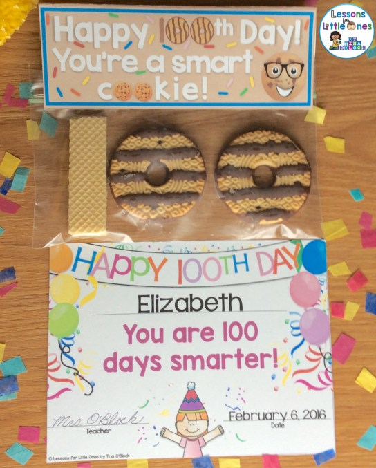 100th day of school smart cookie treat bag topper and Happy 100th Day award