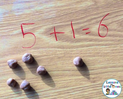 hot chocolate play dough as math manipulative