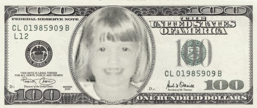 100 dollar bill for the 100th day of school