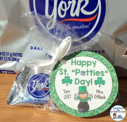 St. Patrick's Day Treat Idea for Students with Gift Tag