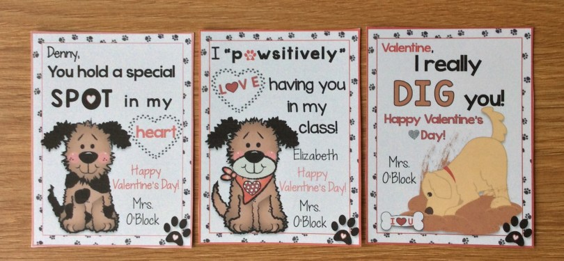 valentine cards for students with dog theme