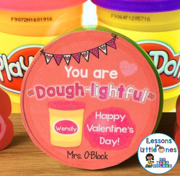 """Dough-lightful"" play dough student valentine gift"