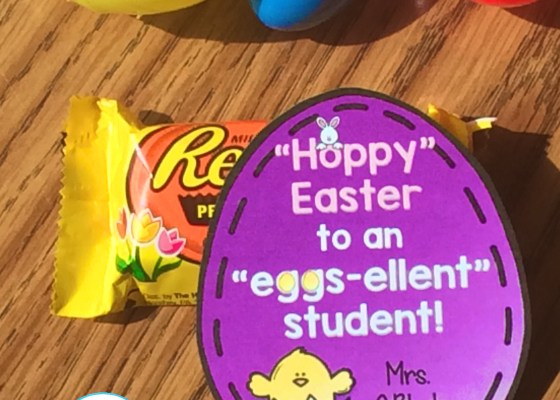 Easter student gift tag egg shaped
