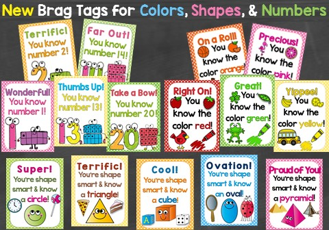 Brag Tags that Motivate Students to Learn Numbers, Shapes, & Colors