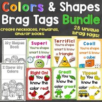 Colors & Shapes Brag Tags Bundle - Individual Tags for Colors & 2D & 3D Shapes
