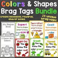 Colors & Shapes Brag Tags Bundle - Individual Tags for Colors & 2D & 3D Shapes