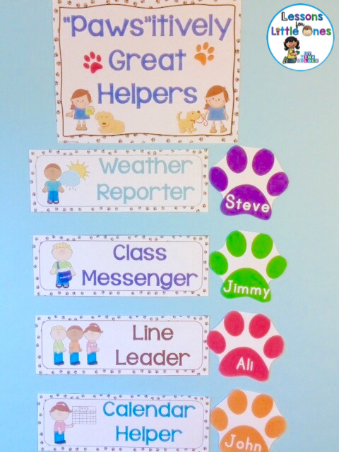 dog classroom helpers bulletin board