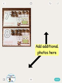 adding photos of fall number mats in Pic Collage