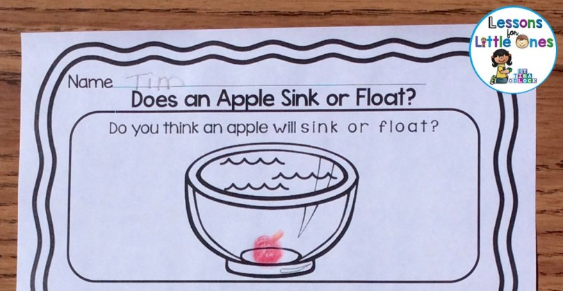 apple sink or float experiment page